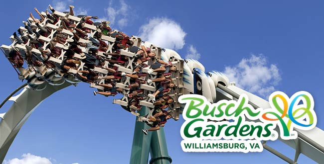 2 One Day Williamsburg Busch Gardens® Tickets For $59
