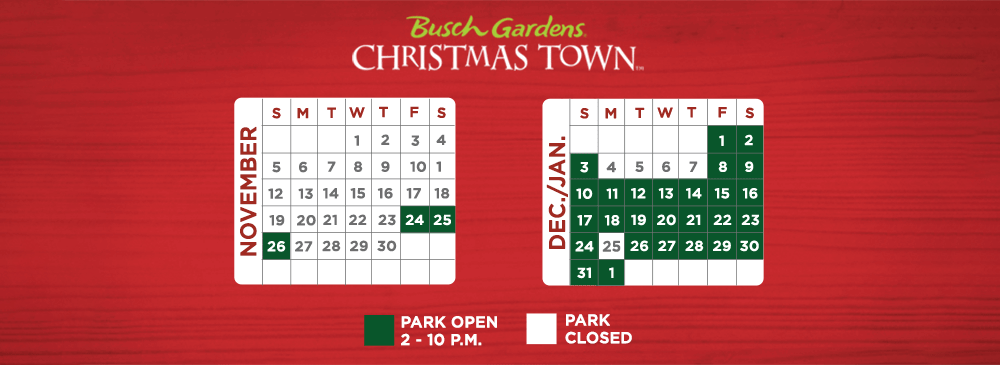 christmas town opens nov 24 and will continue on select days through jan 1 2018 event operating hours are 2 pm 10 pm each day